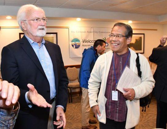 The two mayors, Dave Earling and Masanobu Negita.