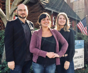 From left, Edmonds Chamber President and CEO Greg Urban with new employees Alicia Moreno and Megan Des Jardins.