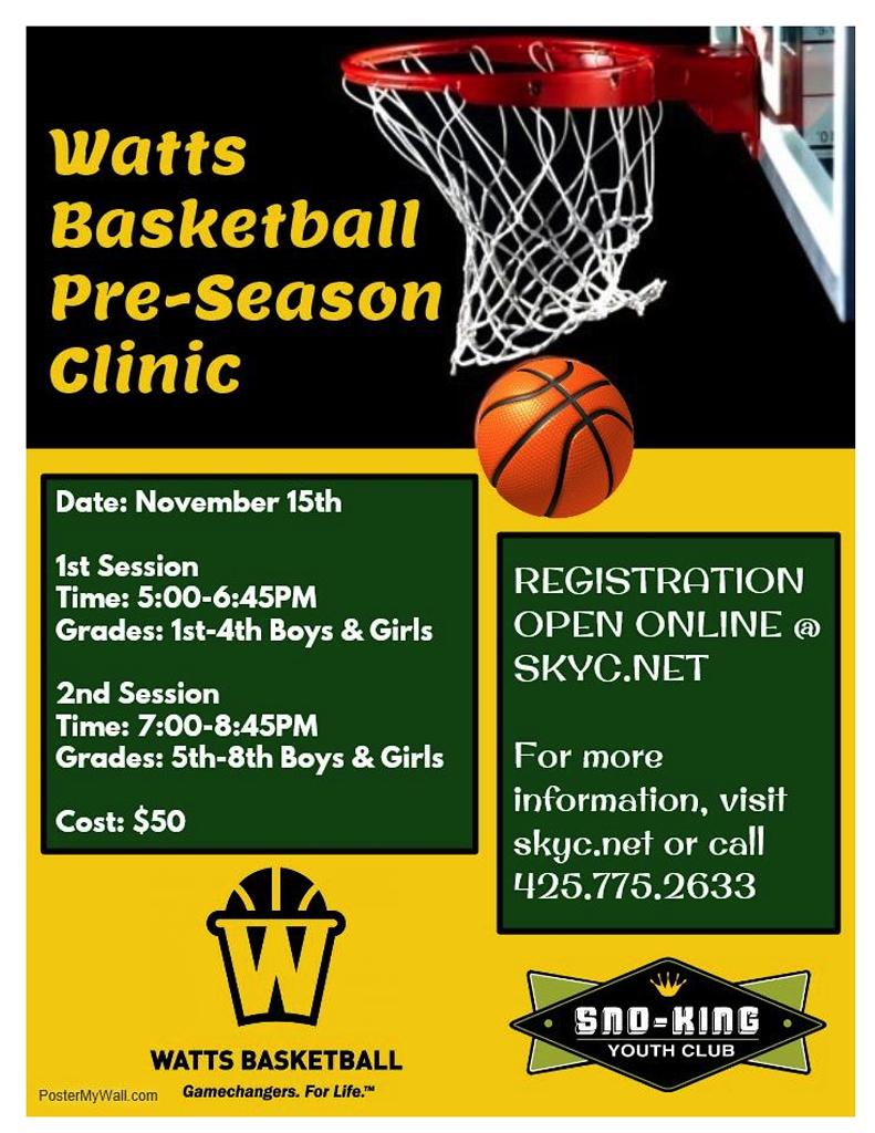 Sno-King Youth Club hosting Watts Basketball preseason
