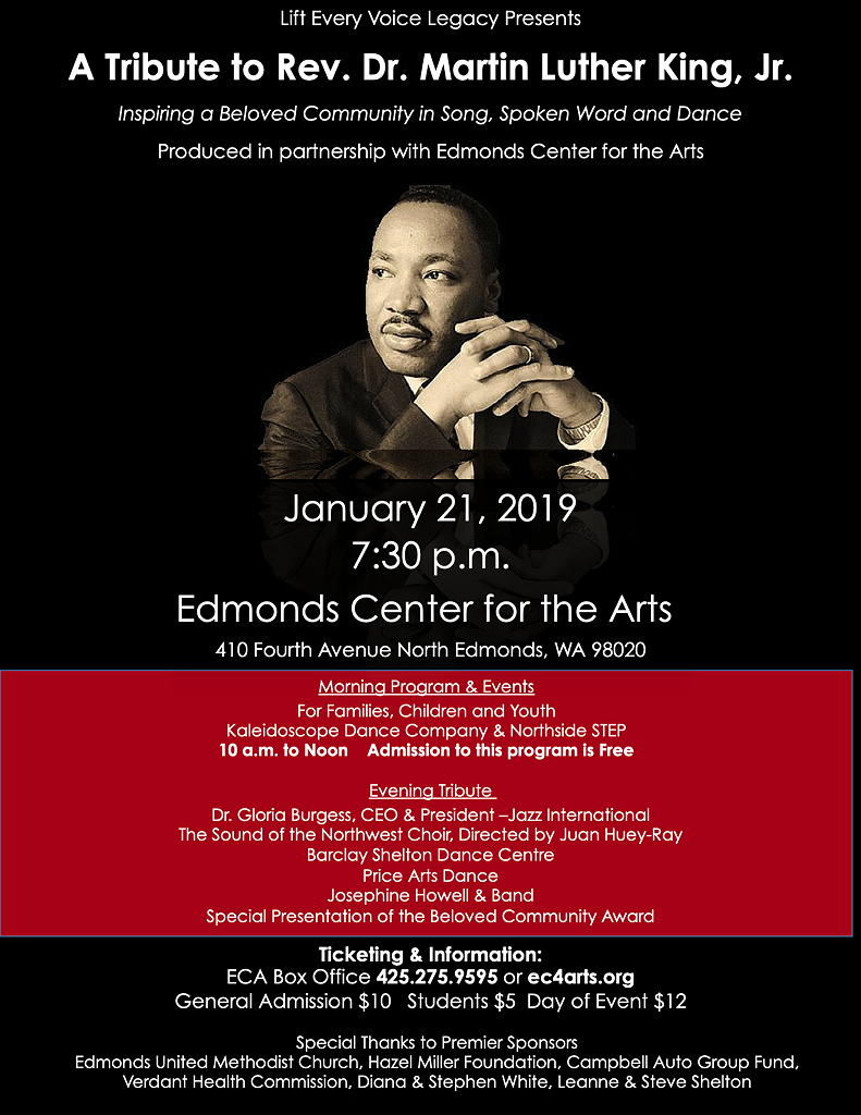 Morning Evening Programs Jan 21 In Edmonds To Honor Dr King S