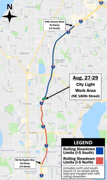 Light rail-related rolling slowdowns planned on I-5 Aug  27