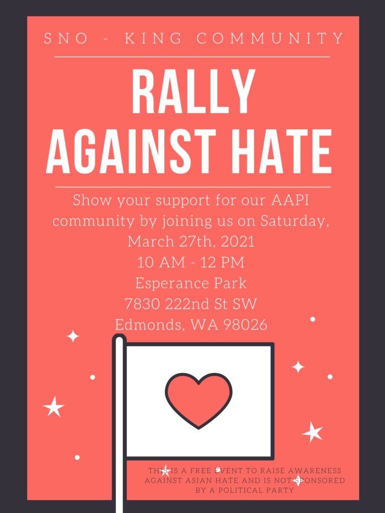 myedmondsnews.com: Rally, silent march March 27 at Esperance Park to support Asian Americans, Pacific Islander residents